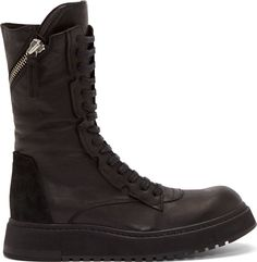 CA by Cinzia Araia Black Leather Lace-Up Combat Boots