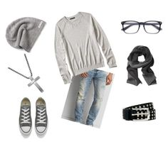 """""""Gray Day"""" by alexputman on Polyvore featuring American Eagle Outfitters, Banana Republic, Converse, River Island, Steven by Steve Madden, men's fashion and menswear"""