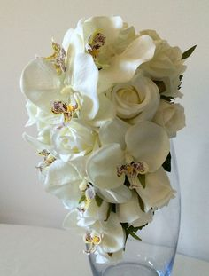 White Orchid and Rose Teardrop Silk Bridal Bouquet