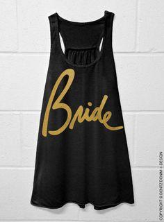 Bride Script Black with Gold Flowy Racerback Tank by DentzDesign