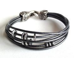 Multistrand Metallic Grey Leather Bracelet by TaphiaDesigns