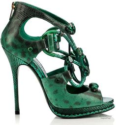 Jimmy Choo's Vices Capsule Collection for Cruise 2015.  Green Jewel