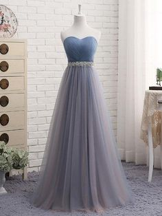5f69f476142 A-line Sweetheart Floor-Length Tulle Bow Lace up Beaded Prom Dresses 2839