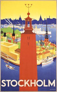 Stunning 1930s Stockholm Sweden Travel Poster