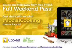 We're waiting for you #socialCooking stories! Win free #FBC5 pass and meet us in London!  More info: http://www.foodbloggerconnect.com/brand-partners/share-your-social-cooking-story-with-cooklet-for-a-free-fbc5-weekend-pass/