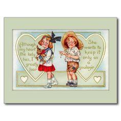 Het vintage Briefkaart van de Valentijnskaart van  Wenskaarten