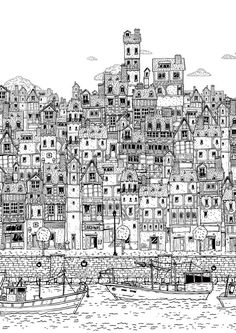 Proceso de entintado - The fishing village - Poster by Jorge Tabanera, via Behance dessin, Building Illustration, House Illustration, Illustrations, Line Drawing, Painting & Drawing, Art Sketches, Art Drawings, City Sketch, House Drawing