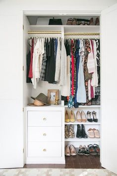 13 Best Small Closet Organization Ideas - Storage Tip for Small Closets Small Closet Storage, Bedroom Closet Storage, Small Closet Space, Tiny Closet, Small Closet Organization, Build A Closet, Small Closets, Organization Ideas, Bedroom Organization