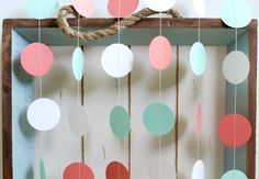 Mint Green, Dark Coral, White 12 ft Circle Paper Garland- Wedding, Birthday, Bridal Shower, Baby Shower, Party Decorations on Etsy, $10.00