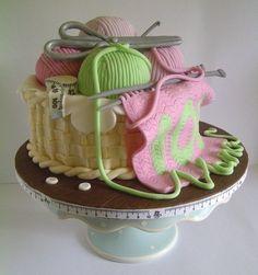 Birthday Knitting Basket Cake - Cake by CakeyCake Cupcakes, Cupcake Cookies, Knitting Cake, Sewing Cake, Crochet Cake, 80 Birthday Cake, Art Birthday, Edible Cake, Novelty Cakes