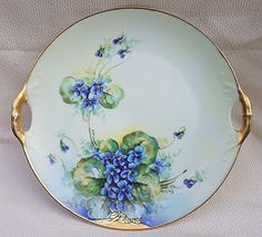 Gorgeous Bavaria 1905 Hand Painted Vibrant 'Violets' 10-1/2' Floral Plate by Edward Donath Studio Artist, 'Rech'