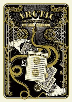 arctic monkeys + Eagles of Death Metal Tour Posters, Band Posters, Eagles Of Death Metal, Vintage Music Posters, Pub Design, The Last Shadow Puppets, Expressive Art, Arctic Monkeys, Musica