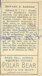 1911 T205 Gold Border #10 E.B. Barger Back