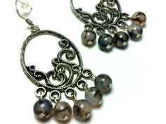 Spider Agate Gothic Romance Chandelier Style Earrings on Etsy, $7.99