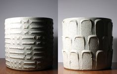 White Glaze Architectural Pottery Ceramic Planters By David Cressey image 2