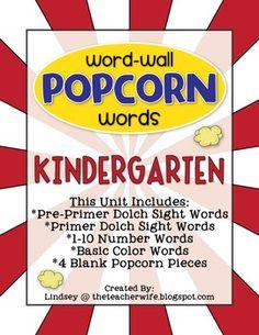 Kindergarten Popcorn Word-Wall Words