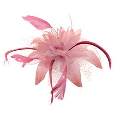 Pink Hair Fascinator (Polka Dot Flower & Feathers)