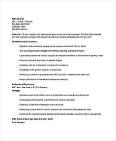 Grocery Store Resume Development Manager Resume Cover Letter  Bank Branch Manager Resume .