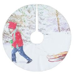 Snow winter sled boy christmas holidays brushed polyester tree skirt - winter gifts style special unique gift ideas