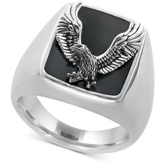 Effy Men's Onyx (16-3/4 x 13-1/2mm) Eagle Ring in Sterling Silver (235 CAD) ❤ liked on Polyvore featuring men's fashion, men's jewelry, men's rings, silver, mens eagle ring, mens onyx rings, mens sterling silver black onyx rings, mens rings and mens sterling silver rings
