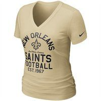 Cherish every year of your Saints history with this Nike ladies Established t-shirt. This flattering V-neck tee features a screenprint of the Saints logo, location and year of establishment on the front. Show your pride and look cute doing it!