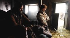 """Jamie: """"Did they cost ye dear?"""" Murtagh: """"They cost nothing but time and conversation. The clothes belong to a Fraser widow about 5 miles from here... I almost didn't bring the damn things back to ye anyway; the village is crawling with redcoats."""" Jamie: """"I'm well aware. Otherwise I'd be collecting my own wedding clothes.""""   Outlander S1E7 'The Wedding' on Starz    Screencaps by Outlander Italy"""
