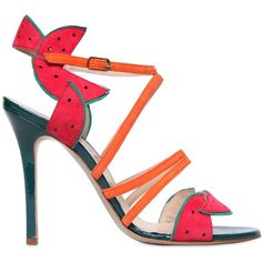 Camilla Elphick Women 105mm Watermelon Patent Leather Sandals ($650) ❤ liked on Polyvore featuring shoes, sandals, multicolor, multi color sandals, patent leather sandals, patent sandals, colorful high heel shoes and patent shoes