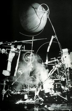 jean tinguely = Homage to New York, 1960 A kinetic sculpture whose only purpose was to eventually destroy itself.