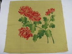 chinese chrysanthemums, vintage cotton pillow top for tinted embroidery