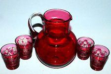 Lot Set of 5 Vintage Cranberry Glasses & Pitcher Red Pink Ruby Etched Jug Old