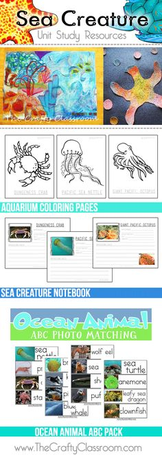 Sea Creature Unit Study Resources: Coloring, Notebooking Pages, Crafts, Alphabet, and more