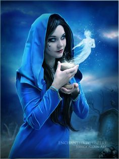 In this fantasy digital art by Jessica Allain, a blue robed mage whispers to an air fairy or sprite that she found hiding in her cup. Description from pinterest.com.