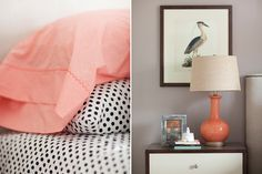 Gorgeous coral and black/white bedroom details.