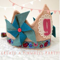 pinwheel crown- girl birthday crown - waldorf dress up crown- personalized birthday crown on Etsy, $32.00