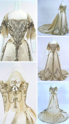 Circa 1898 evening gown by Jean-Philippe Worth: satin, lace, embroidery with rhinestones, and gold thread. Via Bunka Gakuen Costume Museum.