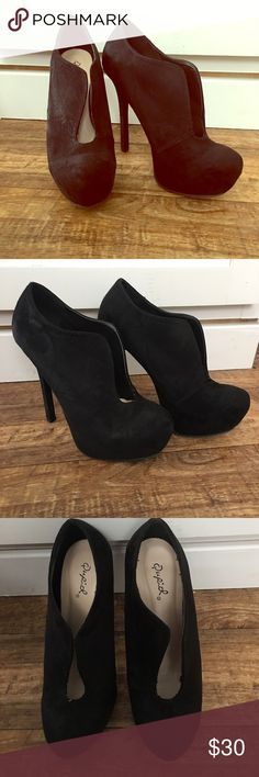 NWOT Red Bottomed Cupid Booties Super cute cut out booties. Feel sexy on date night with tights and a skirt or dress down with jeans and a cute shirt! Either way you can't go wrong! Qupid Shoes Ankle Boots & Booties