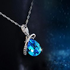 Blue Crystal Water Drop Pendant Necklace Item Type: Necklaces Fine or Fashion: Fashion Pendant Size: 13mm*30mm Style: Classic Necklace Type: Chains Necklaces Gender: Women Material: Crystal Chain Type