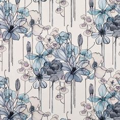 """Floral pattern """"Leila"""" from the """"Elodie"""" collection by Villa Nova Textiles, Textile Patterns, Textile Prints, Print Patterns, Floral Fabric, Floral Prints, Illustration, Surface Pattern Design, Pattern Wallpaper"""