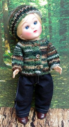 "~CooL CaMo!~ Handknit Sweater, Jeans, & Hat for 7.5"" Vogue Ginny Boy Dolls,Madame Alexander 7.5"" Dolls and vintage Muffie Boys too! Made with TLC and at my ebay now!"