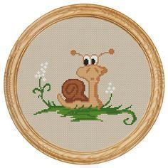 Cross Stitch Pattern PDF snail DD0019 di HappyStitches4You su Etsy