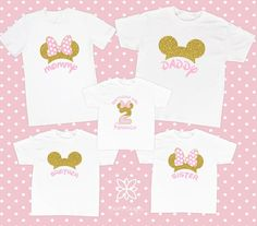 Pink and Gold Minnie Mouse shirt. Minnie Mouse Birthday Decorations, Minnie Mouse First Birthday, 1st Birthday Princess, 2nd Birthday Party Themes, Girl Birthday Themes, Minnie Mouse Party, Birthday Kids, Mickey Birthday, Family Birthday Shirts