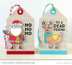 Tag Builder Blueprints 1 Die-namics, Merry Everything Stamp Set and Die-namics, Gift Tag Greetings Stamp Set, Distressed Stripes Background - Donna Mikasa  #mftstamps