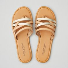 AE Strappy Flat Sandal ($25) ❤ liked on Polyvore featuring shoes, sandals, neutral, flat footwear, strap flat shoes, american eagle outfitters, flat strap sandals and strap sandals