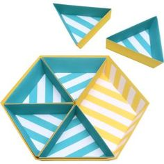 Tray: Hexagon 01 Bold stripes (Yellow & Blue),Home and Living,Paper Craft,Paper Craft,easy,Interior ,stripe,Geometry ,yellow,sky blue,六角形,triangle