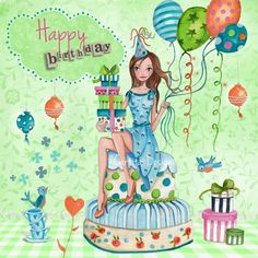 Happy birthday by Cartita Design, Birthday Wishes Greeting Cards, Birthday Wishes Quotes, Happy Birthday Messages, Happy Birthday Greetings, Happy Birthday Girls, Happy Birthday Pictures, Friend Birthday, Birthday Clips, Card Birthday