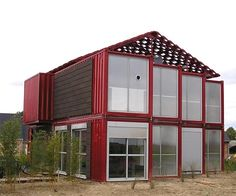 This house is made of railroad box car containers.  Way cool!!