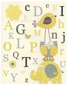 Nursery Letters, Nursery Alphabet ABC, Wall Letters for Kids Room, Nursery Room Letters, ABC Art // Nursery Owl Bird Elephant // Yellow Gray. $17.00, via Etsy.