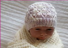 This gorgeous lace beanie is worked in yarn. The pattern includes prem and newborn sizes. Knitted Baby Beanies, Knitted Hats, Crochet Hats, Baby Hat Knitting Pattern, Baby Hats Knitting, Beanie Hats, Doll Clothes, Sweaters For Women, Stitch