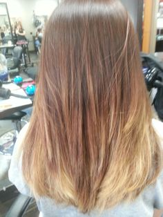 My med auburn brown ombre/balayage, with soft golden tones.