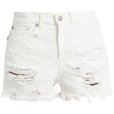 R13 Shredded Slouch denim shorts (12,530 INR) ❤ liked on Polyvore featuring shorts, ripped jean shorts, ripped denim shorts, high rise denim shorts, white denim shorts and high waisted ripped shorts